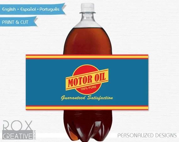 Cars Birthday Motor Oil 2 Liter Soda Labels, Disney Cars Printable
