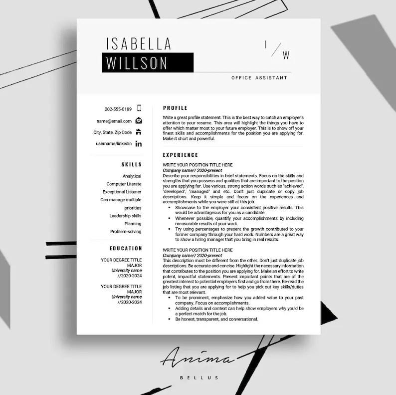 Resume template Resume Modern Resume PDF Resume format Etsy