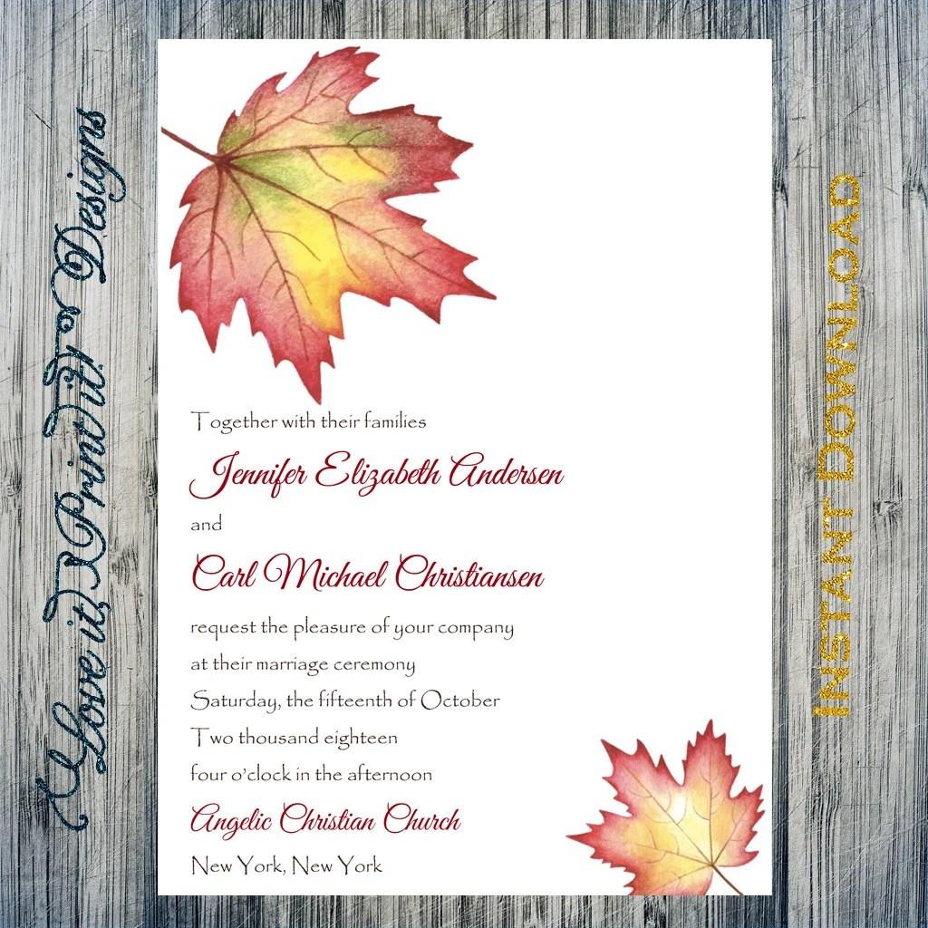 Fall Wedding Invitation Template Fall Maple Leaf Editable  Etsy