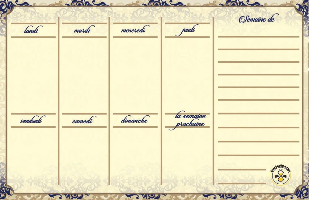 French Royal weekly planner dry erase calendar weekly Etsy