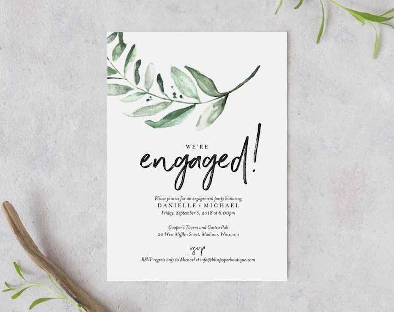 Greenery Engagement Party Invitation Template Engagement Etsy