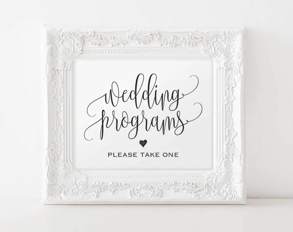 Wedding Program Sign Ceremony Program Sign Please take one Etsy
