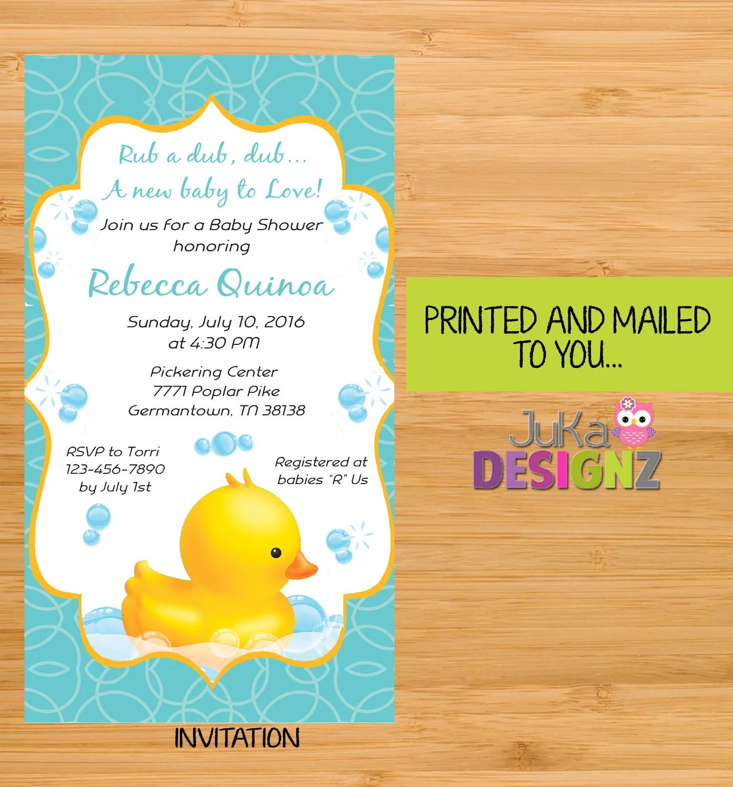 Babies R Us Pickering Rubber Duck Ducky Boy Baby Shower Invitations And More Variety Or Sets Printed And Mailed To You