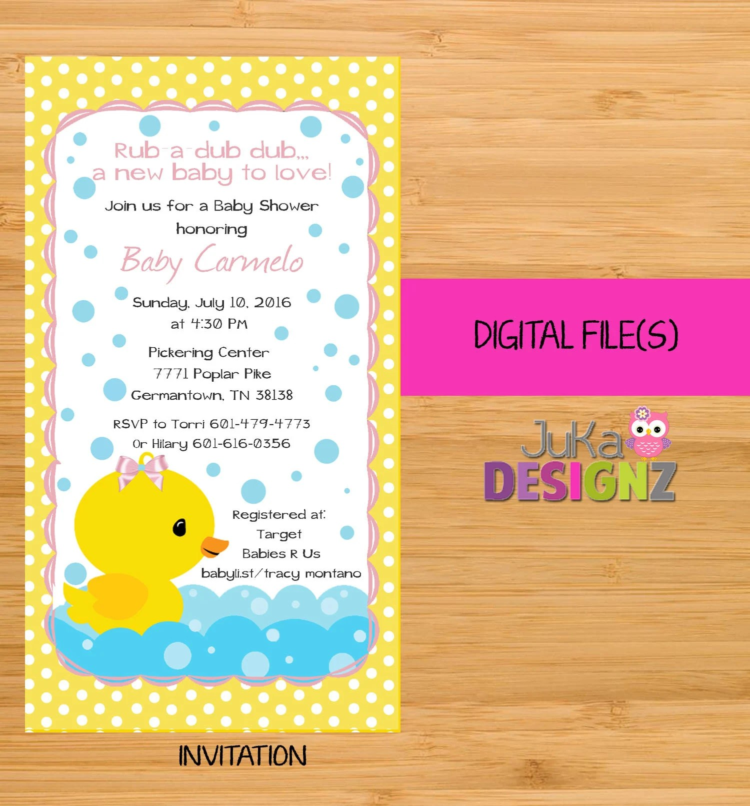 Babies R Us Pickering Rubber Duck Ducky Girl Baby Shower Invitationsand More Digital File S Uprint
