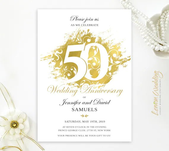 PRINTED Gold wedding anniversary invitations 50th Etsy