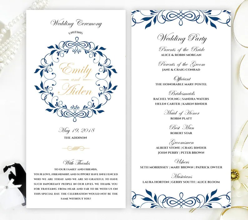 PRINTED Wedding ceremony programs Royal blue and gold Etsy