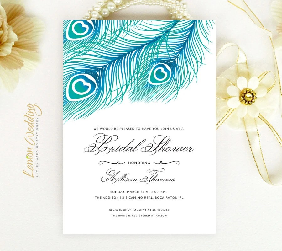 PRINTED Peacock Bridal Shower Invitations Feather wedding Etsy