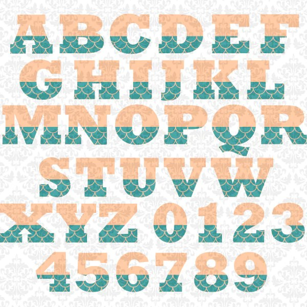 Mermaid Tail Fin Alphabet Letters Summer SVG file Ai EPS SCalable