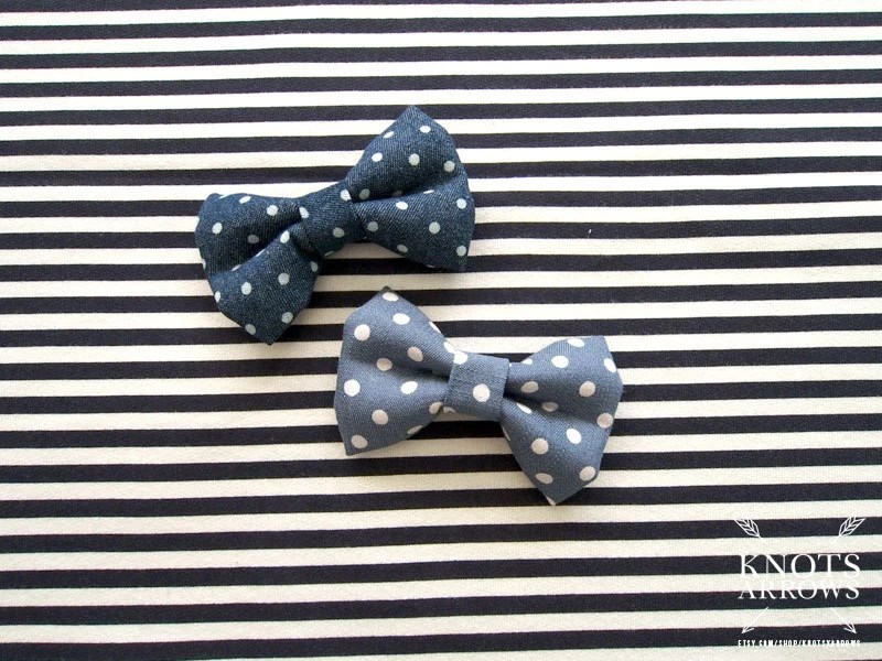Dark Denim Chambray White Dots Baby Toddler Boy Men Bow