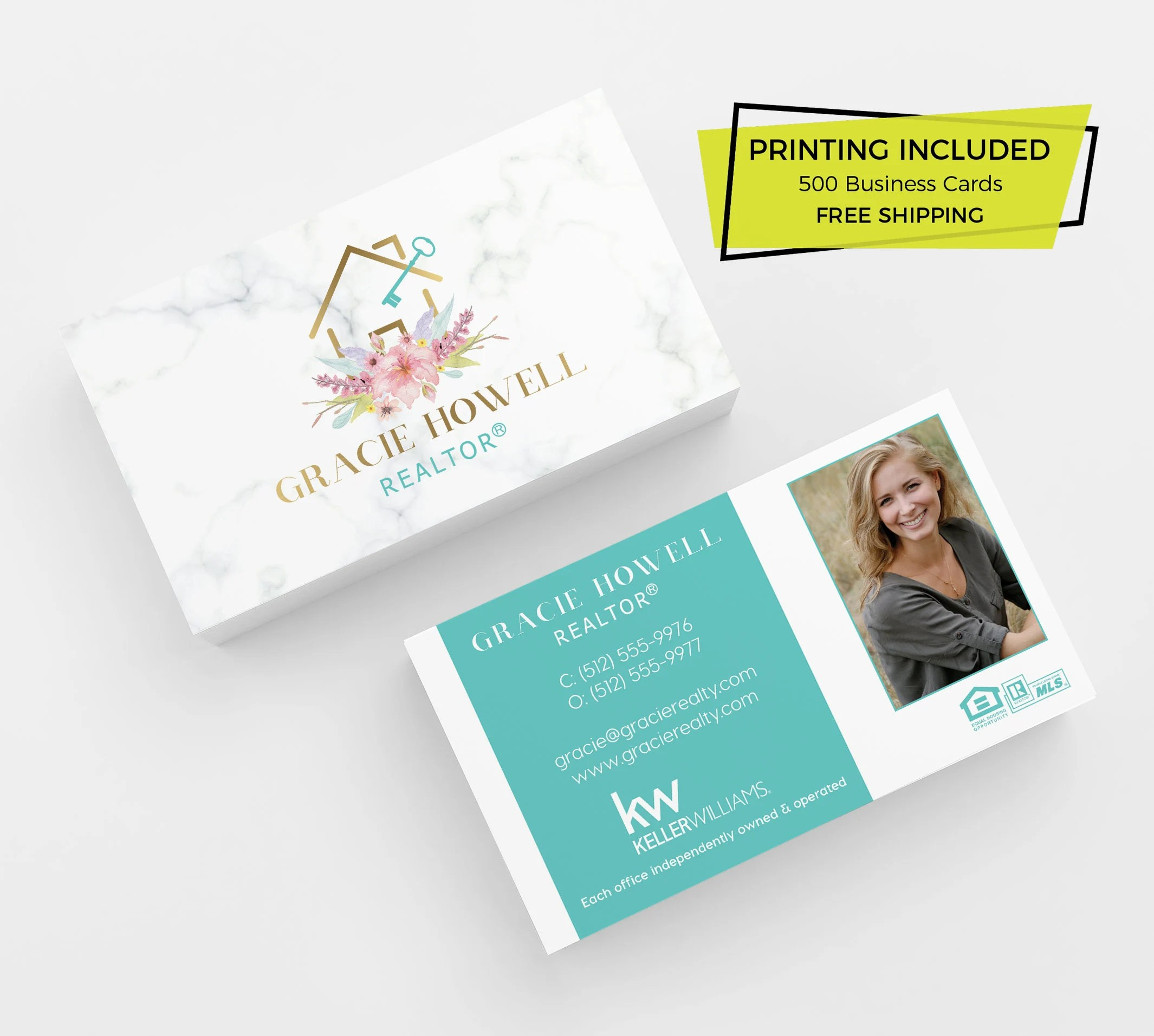 Modern Marble Realtor Business Card 500 Printed Business Cards Etsy