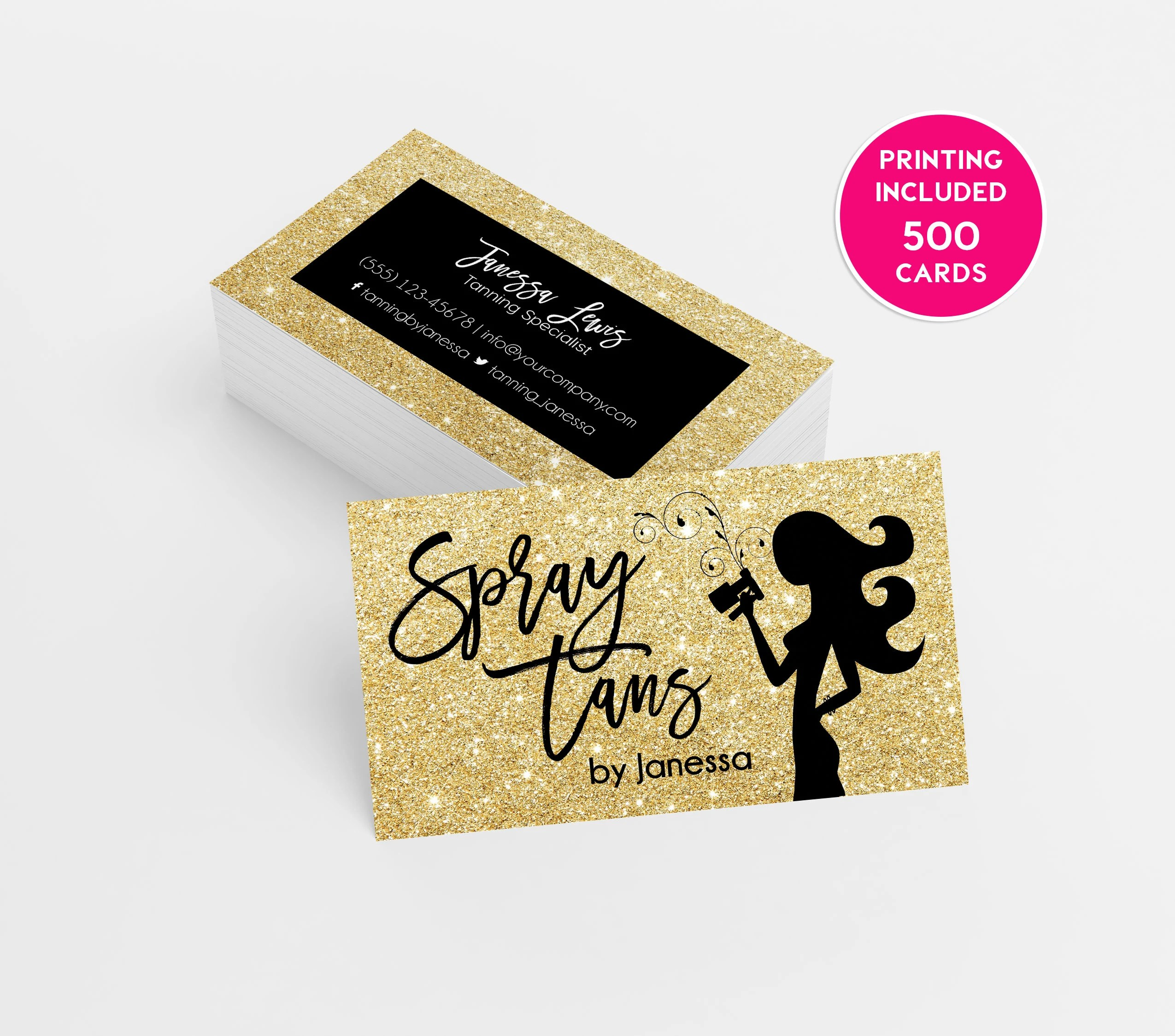 Gold Glitter Spray Tanning Business Card Design 500 Printed Etsy