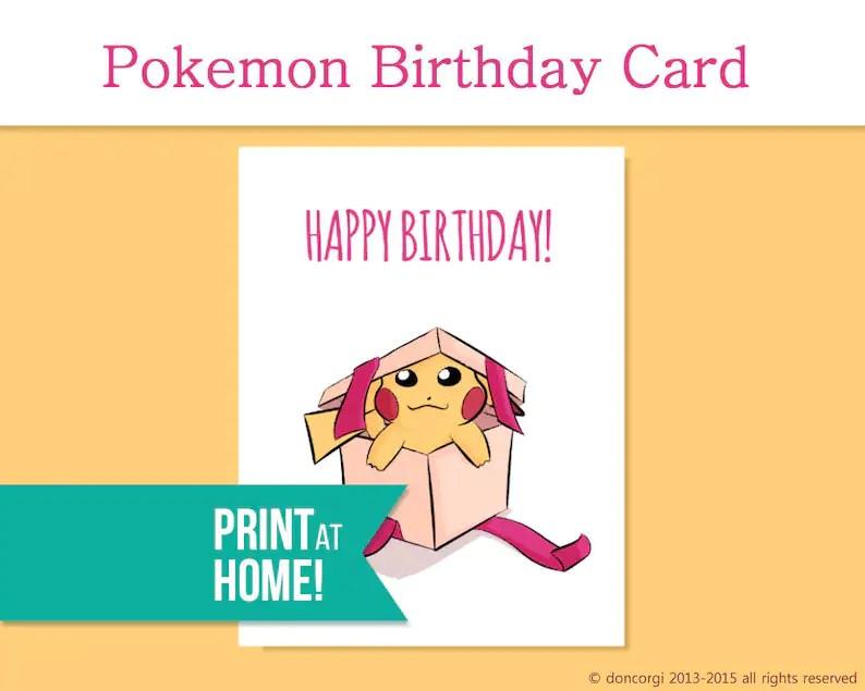 Printable Pokemon Birthday Card Video Game Card Gamer Etsy