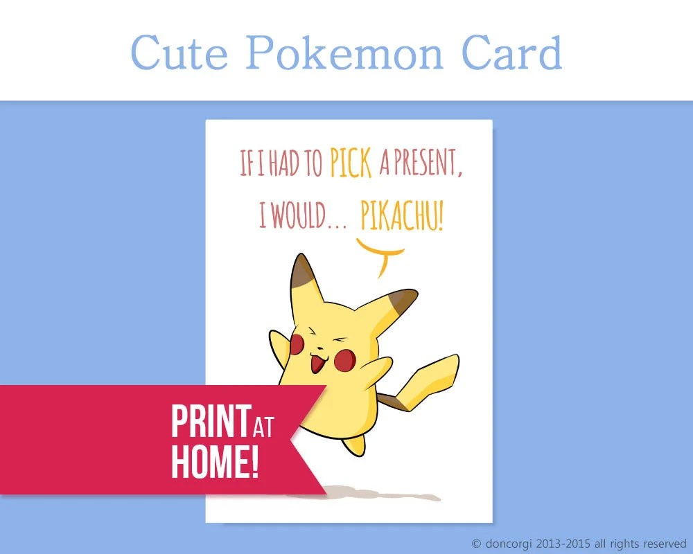 Pokemon Card If I had to Pick a Present I would PIKACHU Etsy