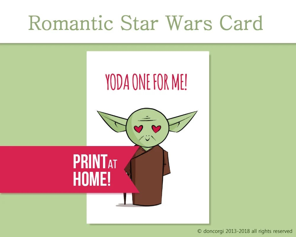 Printable Star Wars Romantic Card Yoda one For Me Star Etsy
