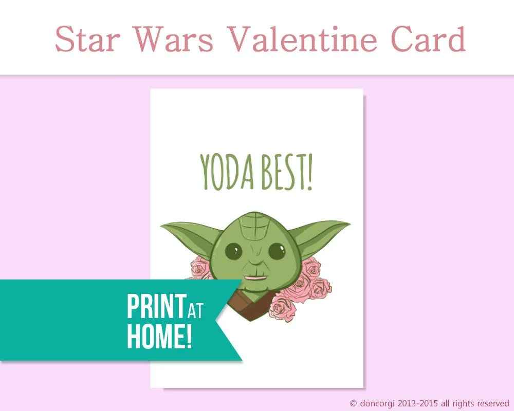 Star Wars Greeting Card Yoda Best Printable Card Love Etsy