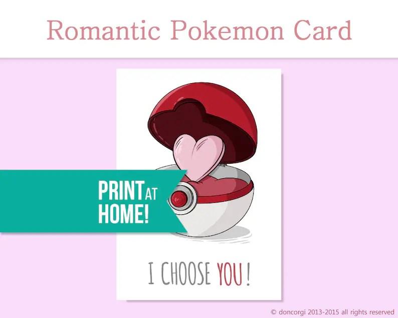 Romantic Pokemon Card I Choose You Printable Valentines Etsy