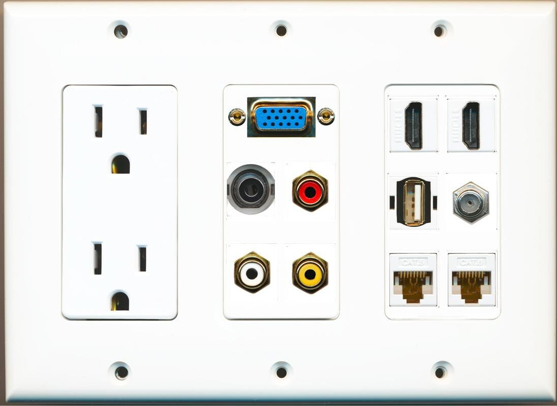 Hdmi Outlet Riteav 2 Hdmi 2 Cat6 3 5mm Rca Composite Coax Usb A Svga Power Outlet Wall Plate