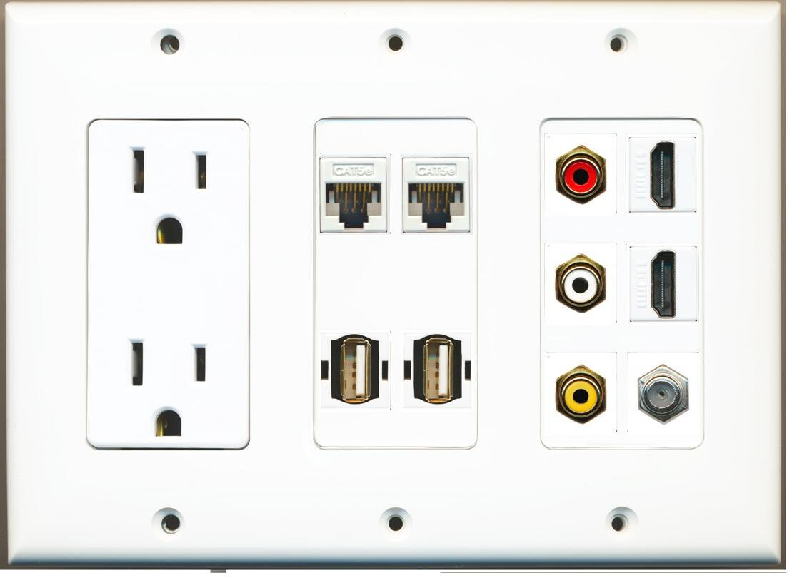 Hdmi Outlet Riteav 15 Amp Power Outlet 3 Rca Composite 2 Hdmi 1 Coax 2 Usb Cat5e Wall Plate