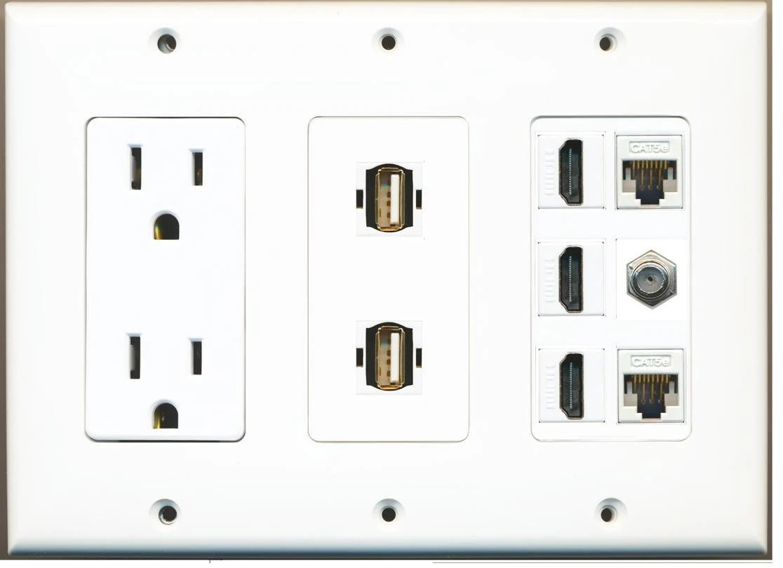 Hdmi Outlet Riteav 15 Amp Power Outlet 2 Usb 3 Hdmi 2 Ethernet 1 Coax Cable Tv Wall Plate