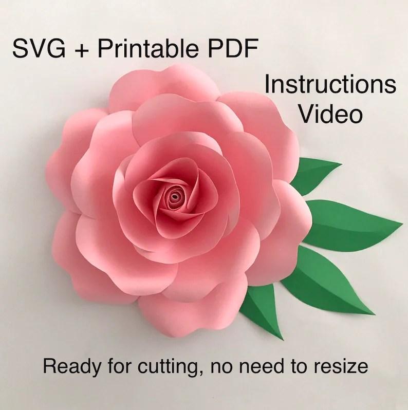 Paper Rose Template Paper Flower Template Flower Petal Etsy