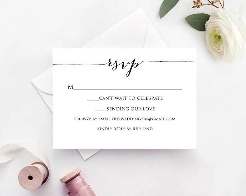 RSVP Cards Rsvp Card Template Rsvp Cards Wedding RSVP Card Etsy