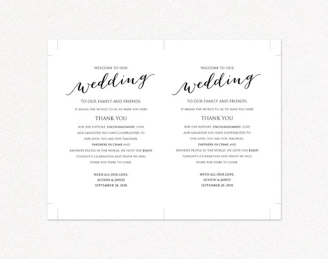 Welcome to Our Wedding Card, Itinerary Details Thank You Information