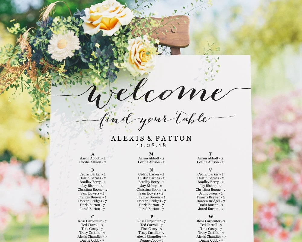 Seating Chart Seating Chart Wedding Alphabetical Seating Etsy
