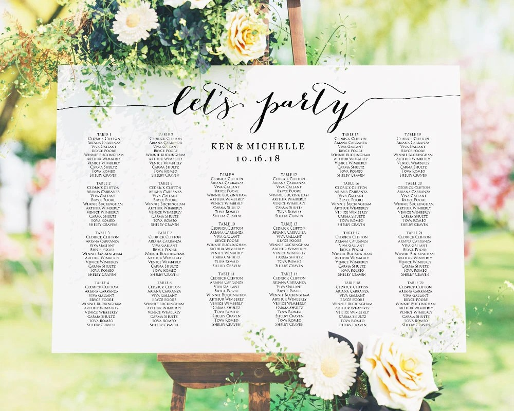 Let\u0027s Party Wedding Seating Chart Template in FOUR Sizes Etsy