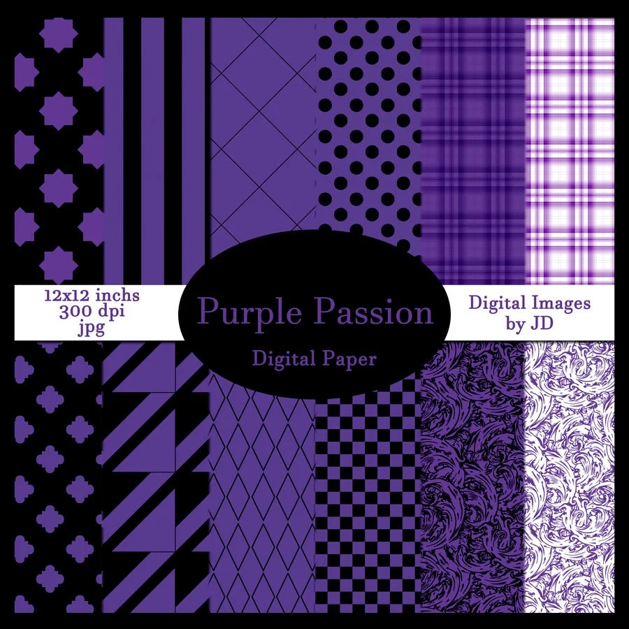 Purple Passion Digital Paper Pack for Scrapbook Backgrounds Etsy