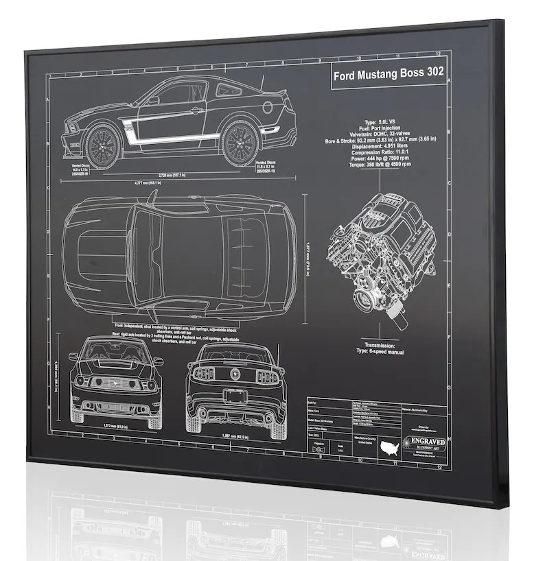 Ford Mustang Boss 302 Laser Engraved Wall Art Blueprint Sign Etsy