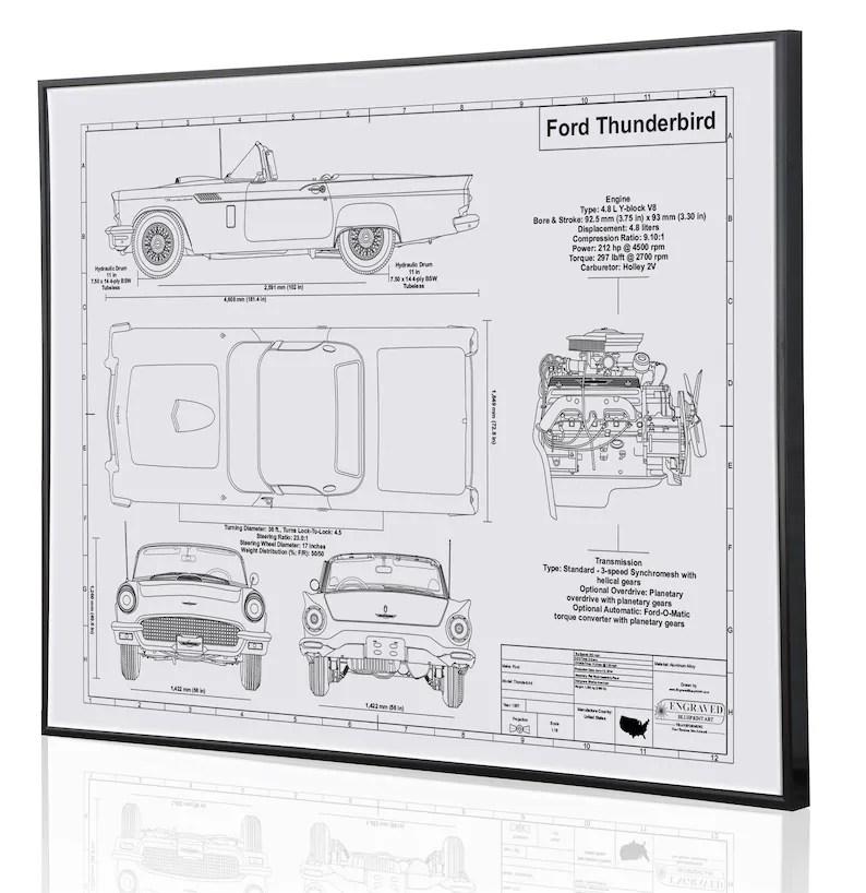 Ford Thunderbird 1957 Laser Engraved Wall Art Blueprint Sign Etsy