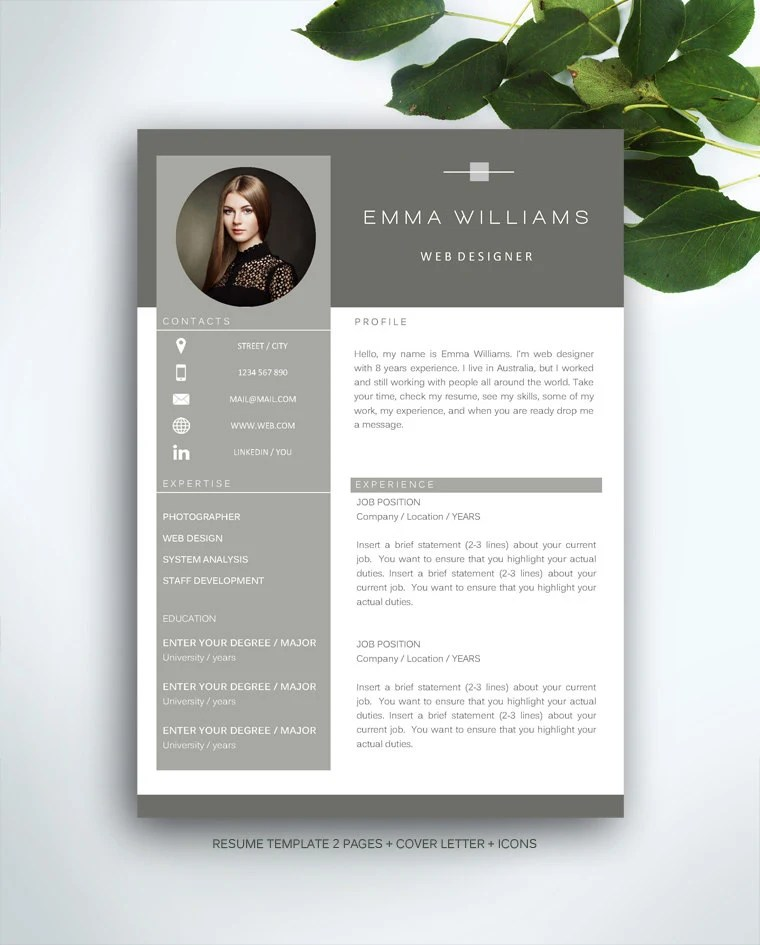 Resume Template 3 page / CV Template Cover Letter / Instant - check my resume
