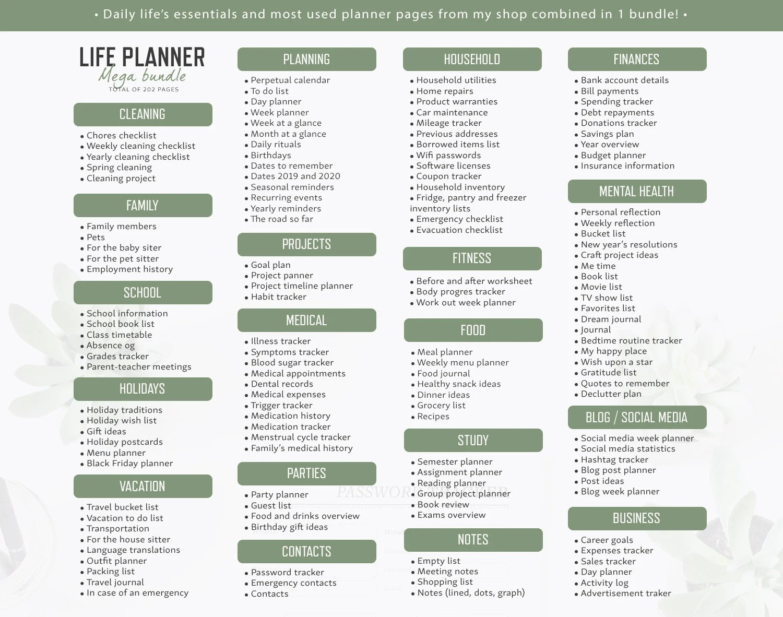 Life Planner / A5 / Life Organizer Mega Bundle Planner Inserts Etsy