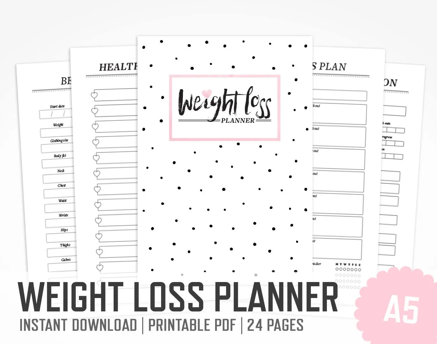 Weight Loss Planner / A5 / Work Out Planner Fitness Lifestyle Etsy