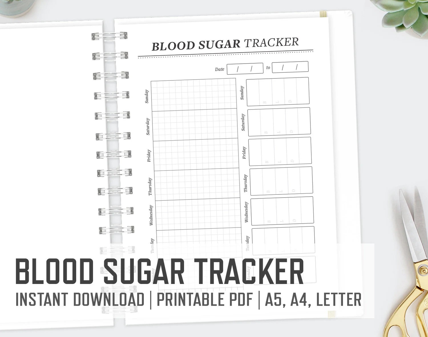 Blood Sugar Tracker / A4 A5 Letter / Diabetes Printable Blood Etsy