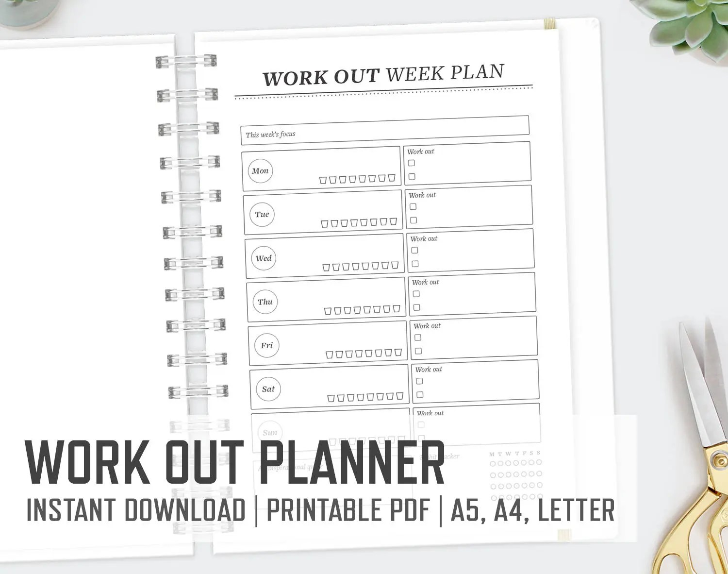 Workout Planner / A4 A5 Letter / Weekly Fitness Planner Cardio Etsy