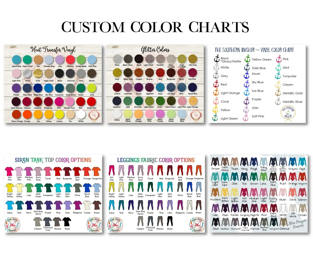 Custom Color Chart Custom Size Chart Vinyl Color Chart Etsy