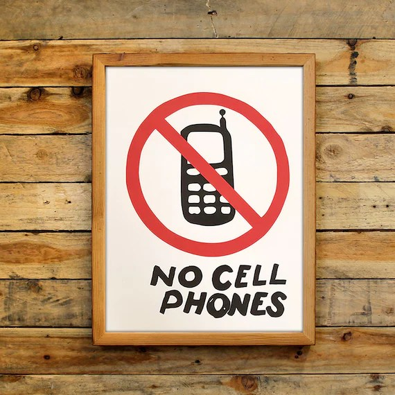 No Cell Phones Poster Luke\u0027s Diner Sign TV Show Luke Danes Etsy