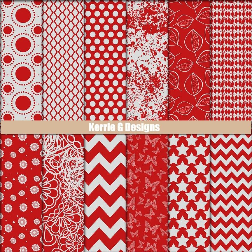 Printable Cardstock digital Packs scrapbooking paper Red and Etsy