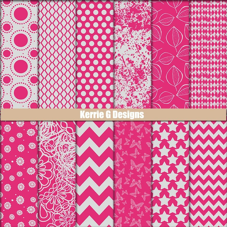 Pink and Grey Printable Cardstock digital Paper Packs Etsy - printable cardstock