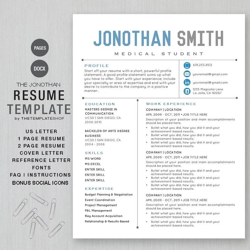 Resume Template CV Template for Word Printable social Etsy