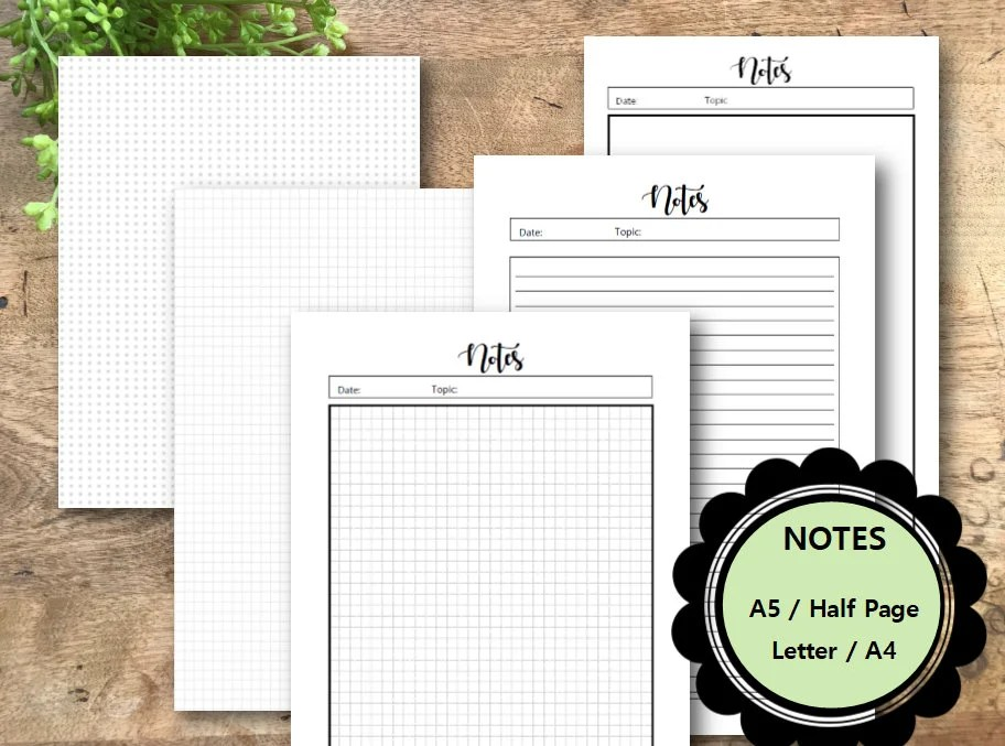 Notes Bundle Planner Printable A5 Half Page Letter A4 Etsy