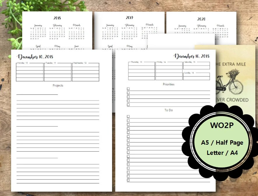 Weekly Planner Printable Pages 2018 WO2P A5 Half Page Etsy