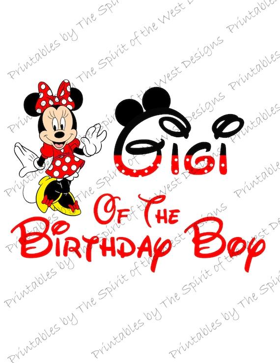 Gigi of the Birthday Boy Minnie Mouse Iron on IMAGE Mouse Ears