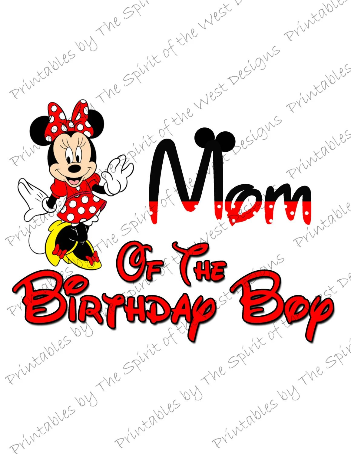 Mom of the Birthday Boy Minnie Mouse Iron on IMAGE Mouse Ears