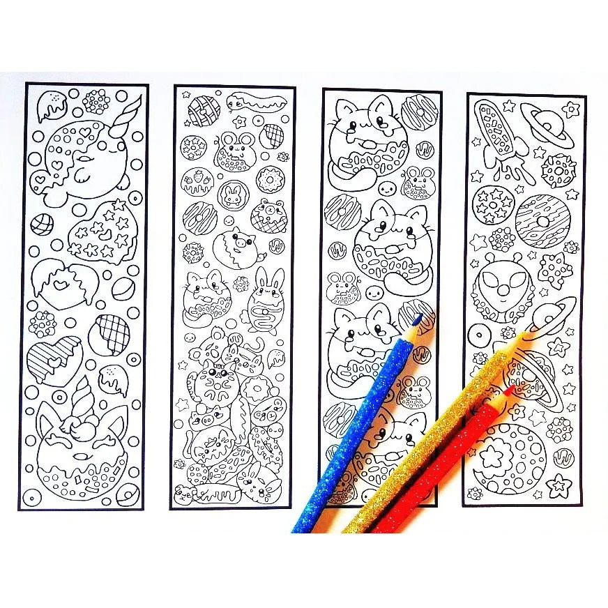 Cute Coloring Bookmarks Dreamy Donuts bookmark coloring page Etsy