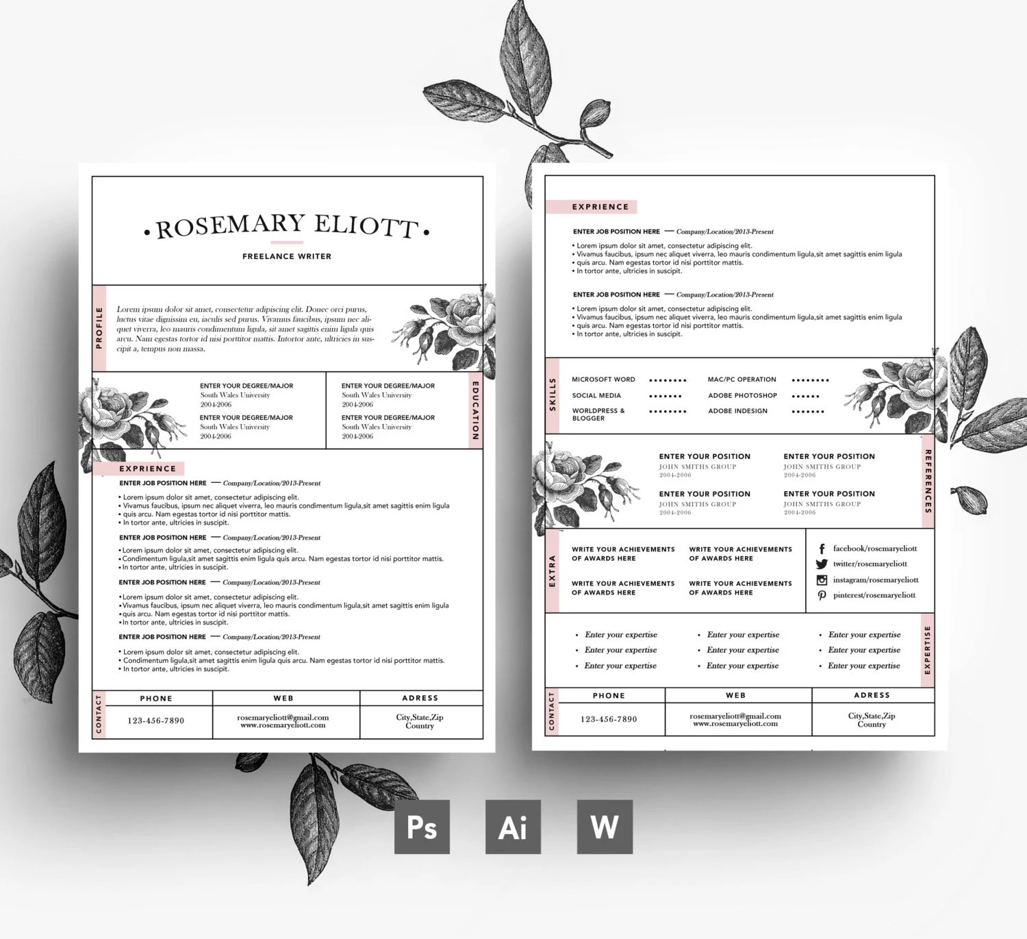 Creative Business card CV template Cover letter/ easy Etsy