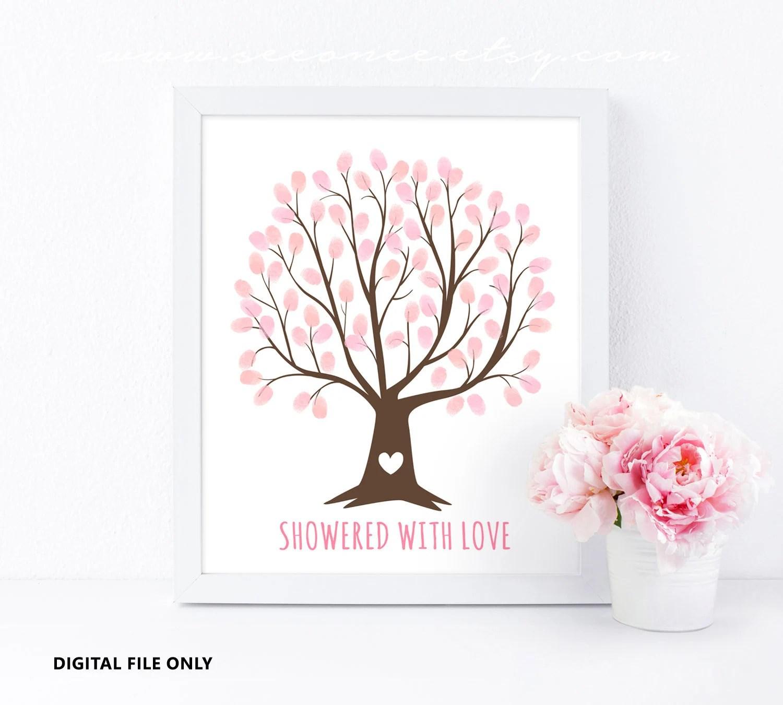 Fingerprint tree guestbook for Wedding Baby shower birthday Etsy