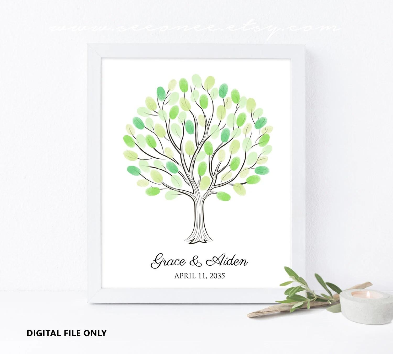 Fingerprint Tree Guestbook Wedding tree Baby shower gift Etsy