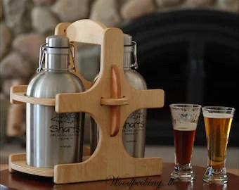 Beer Wood Caddy 6 Pack Bottle Holder Wooden Custom Carrier